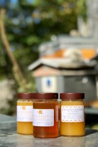 miel produits par les abeilles et ruches des parrains. La protection de l'abeille est important pour nos parrains